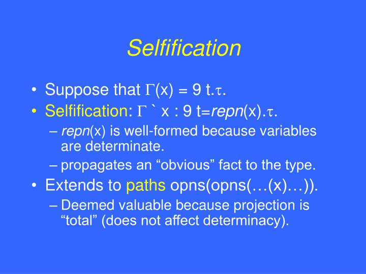 Selfification