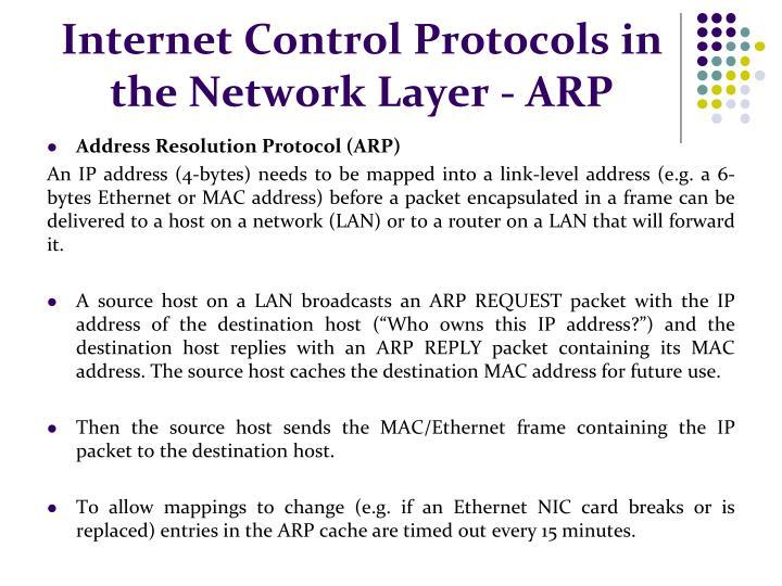 Internet Control Protocols in the Network Layer - ARP