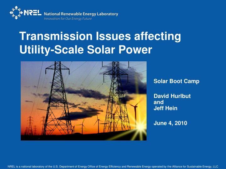 transmission issues affecting utility scale solar power n.
