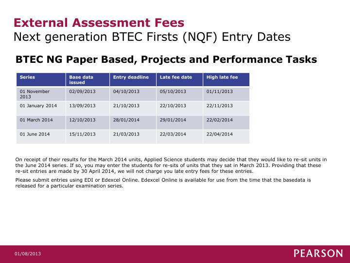 External assessment fees next generation btec firsts nqf entry dates