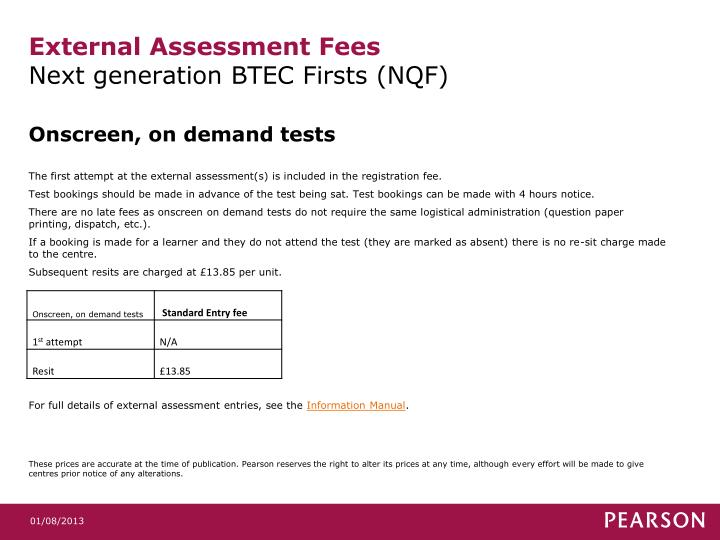 External assessment fees next generation btec firsts nqf1