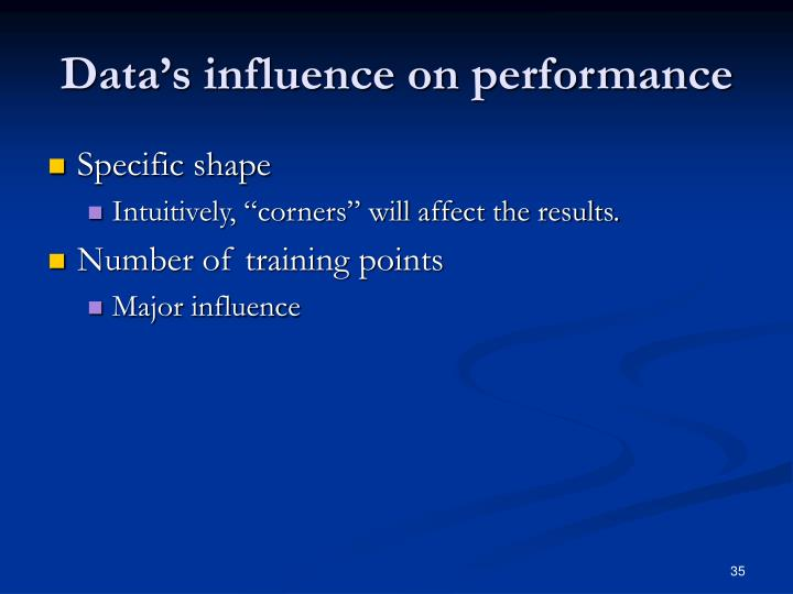 Data's influence on performance