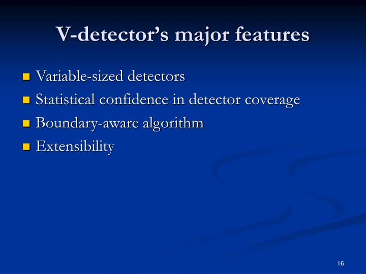 V-detector's major features