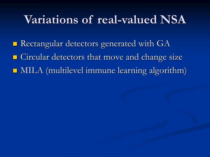 Variations of real-valued NSA