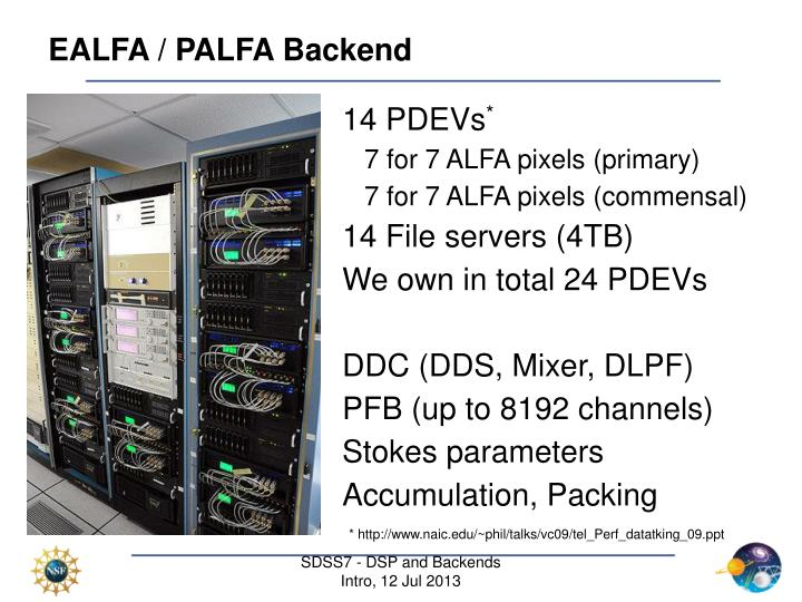 EALFA / PALFA Backend