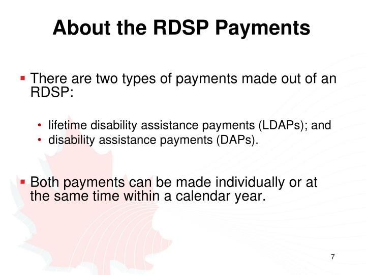 About the RDSP Payments