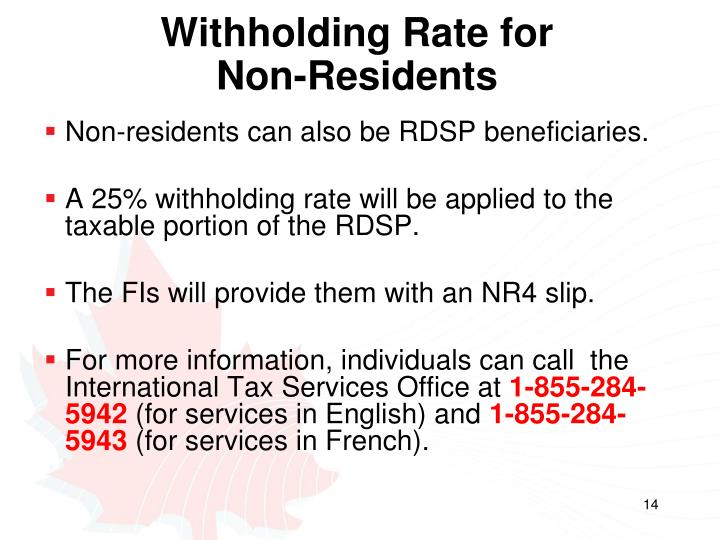 Withholding Rate for