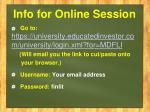info for online session