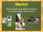 market where buyers and sellers exchange resources goods and services