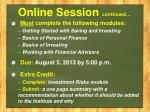 online session continued