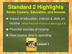 standard 2 highlights relate careers education and income