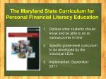 the maryland state curriculum for personal financial literacy education