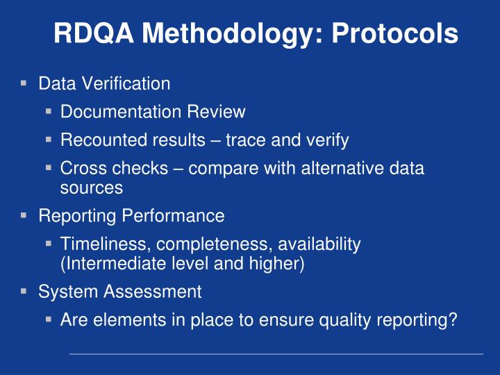 RDQA Methodology: Protocols