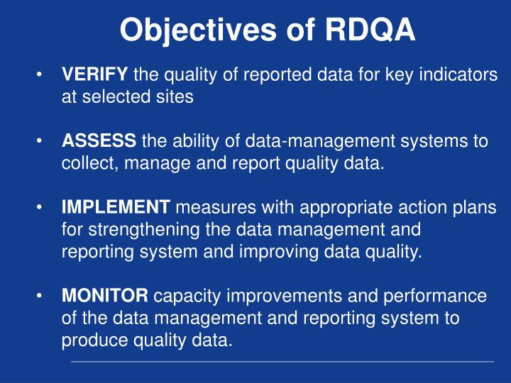 Objectives of RDQA
