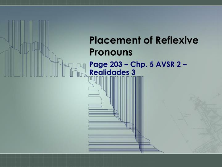 placement of reflexive pronouns n.
