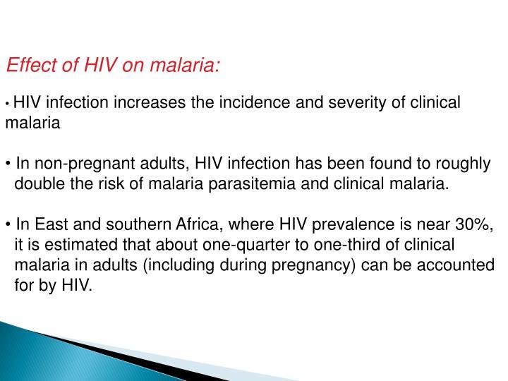 Effect of HIV on malaria:
