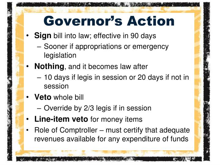 Governor's Action