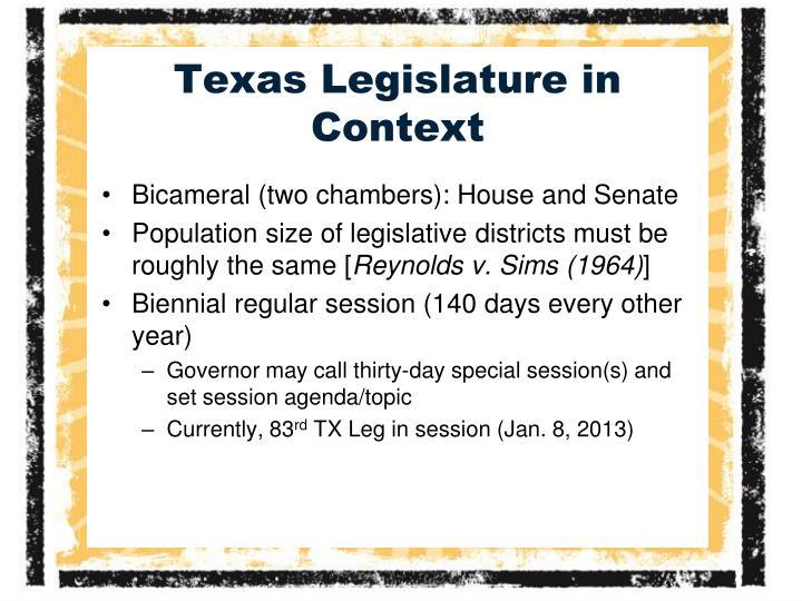 Texas legislature in context