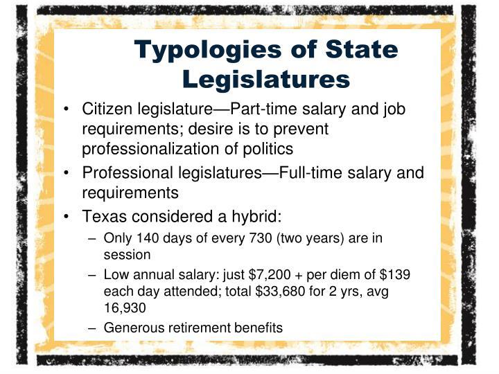 Typologies of state legislatures