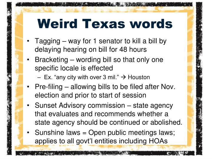 Weird Texas words