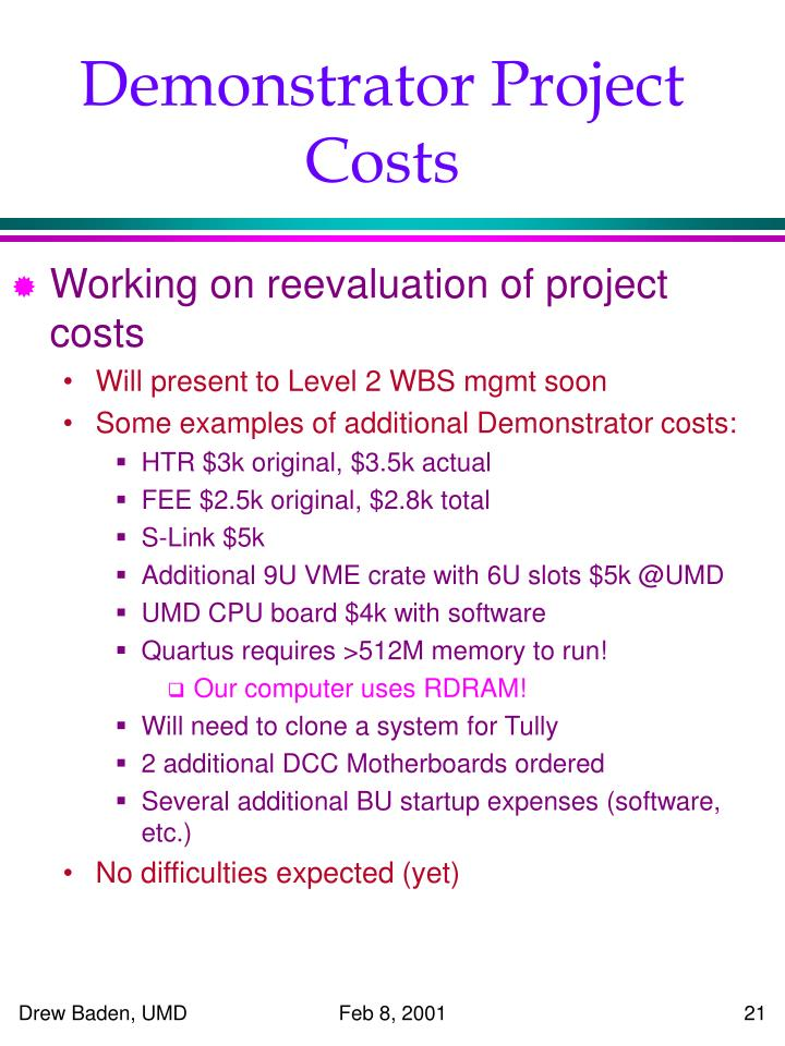 Demonstrator Project Costs