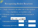 recognizing redox reactions