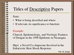 titles of descriptive papers