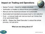 impact on trading and operations