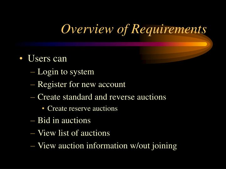 Overview of Requirements