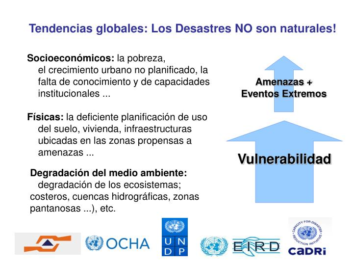 Tendencias globales: Los Desastres NO son naturales!