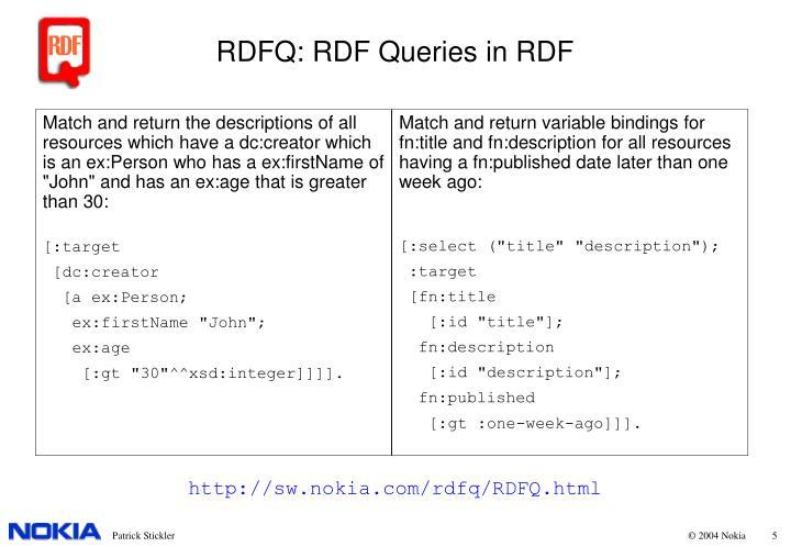 RDFQ: RDF Queries in RDF