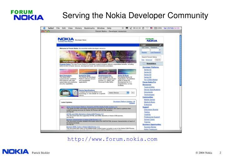 Serving the nokia developer community