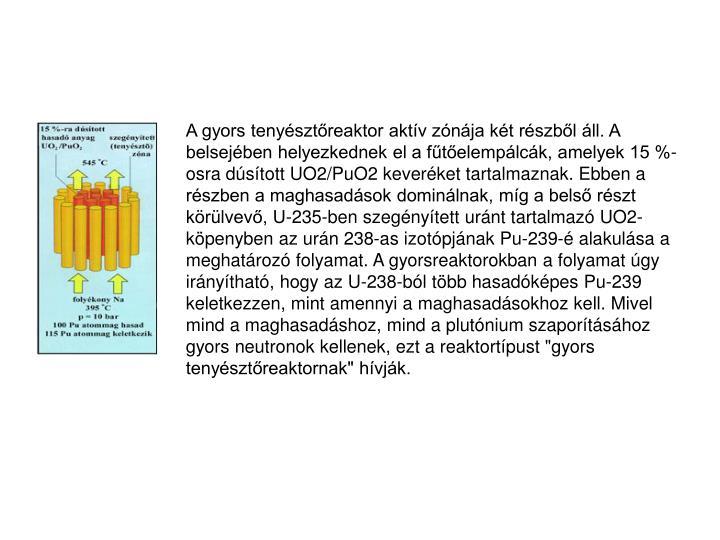 """A gyors tenyésztőreaktor aktív zónája két részből áll. A belsejében helyezkednek el a fűtőelempálcák, amelyek 15 %-osra dúsított UO2/PuO2 keveréket tartalmaznak. Ebben a részben a maghasadások dominálnak, míg a belső részt körülvevő, U-235-ben szegényített uránt tartalmazó UO2-köpenyben az urán 238-as izotópjának Pu-239-é alakulása a meghatározó folyamat. A gyorsreaktorokban a folyamat úgy irányítható, hogy az U-238-ból több hasadóképes Pu-239 keletkezzen, mint amennyi a maghasadásokhoz kell. Mivel mind a maghasadáshoz, mind a plutónium szaporításához gyors neutronok kellenek, ezt a reaktortípust """"gyors tenyésztőreaktornak"""" hívják."""