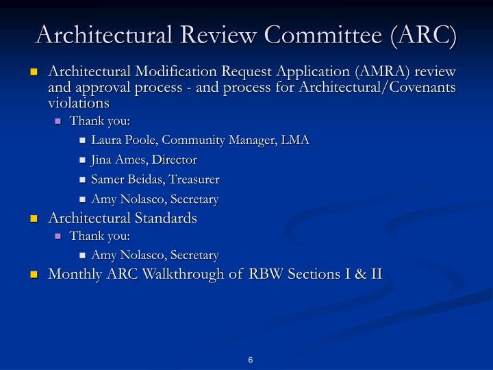 Architectural Review Committee (ARC)