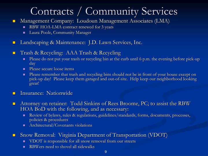 Contracts / Community Services