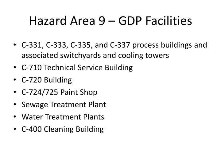 Hazard Area 9 – GDP Facilities