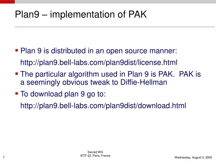 Plan9 – implementation of PAK