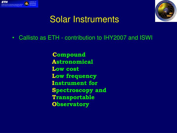 Ppt institute of astronomy eth zurich powerpoint presentation id solar instruments toneelgroepblik Image collections