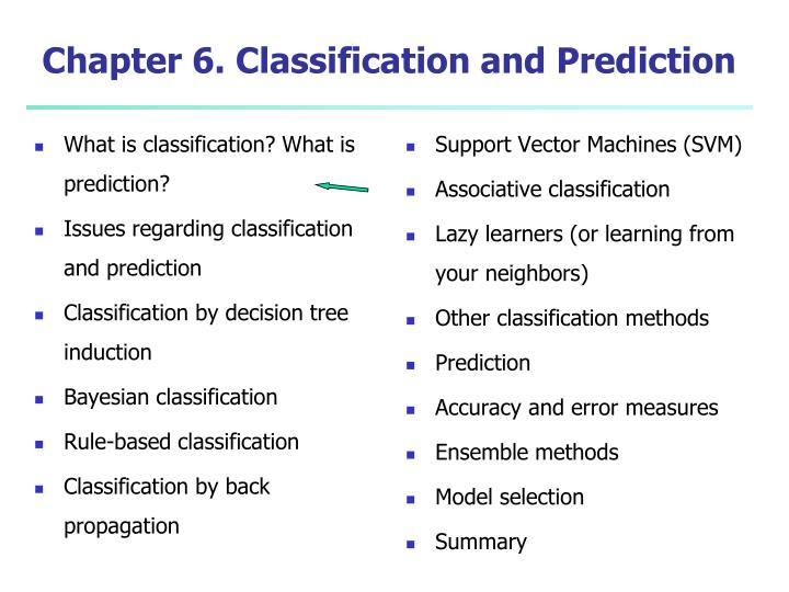 chapter 6 classification and prediction n.