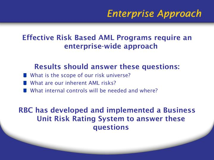 Effective Risk Based AML Programs require an enterprise-wide approach