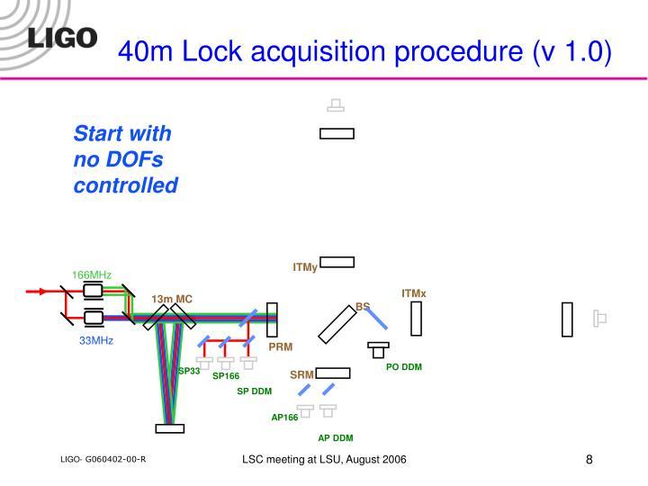 40m Lock acquisition procedure (v 1.0)