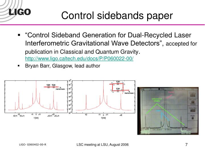 Control sidebands paper