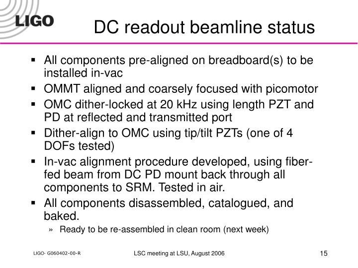 DC readout beamline status