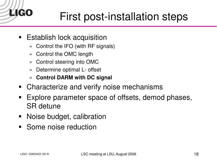 First post-installation steps