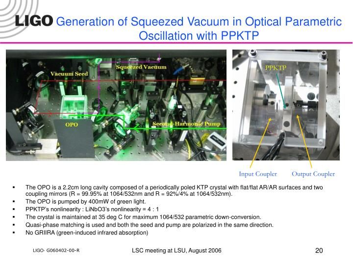 Generation of Squeezed Vacuum in Optical Parametric Oscillation with PPKTP