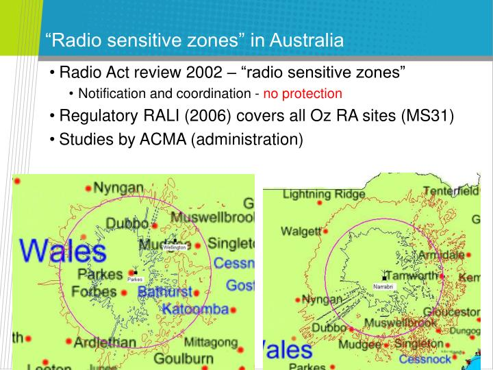 """Radio sensitive zones"" in Australia"