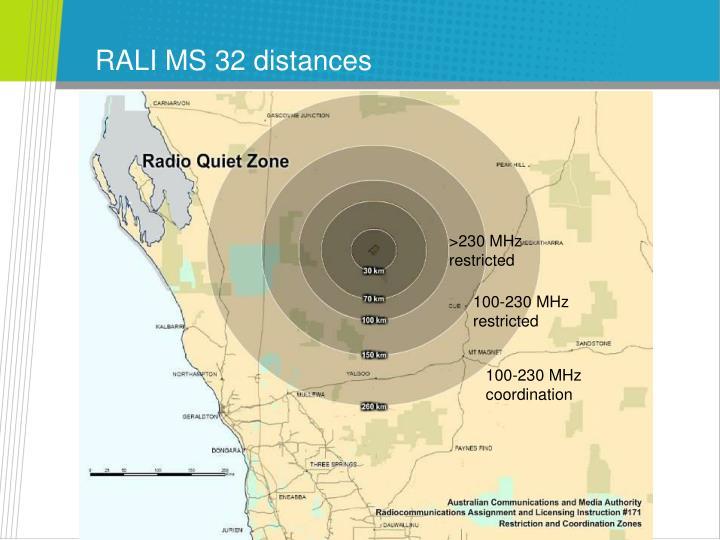 RALI MS 32 distances