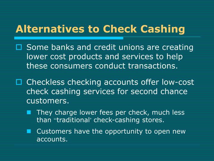 Alternatives to Check Cashing