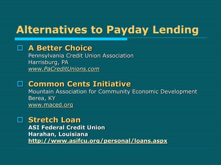 Alternatives to Payday Lending