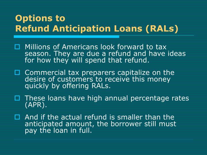 binary options refund anticipation loan